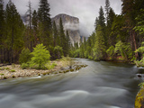 Merced River with El Capitan Looming in the Distance in the Spring, Yosemite National Park, Sa Photographic Print by Patrick Smith