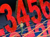 Child Running Past Large Numbers Fotografie-Druck von Carol & Mike Werner