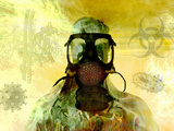 Illustration of Risk, Showing a Person in Hazardous Materials Suit and Face Mask Photographic Print by Carol & Mike Werner