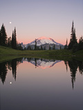 Reflection of Mount Rainier in Upper Tipsoo Lake in Chinook Pass and the Setting Moon at Sunrise Photographic Print by Geoffrey Schmid