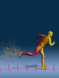 Biomedical Illustration of a Wireframe Runner with an Ekg Photographic Print by Carol & Mike Werner