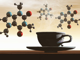 Illustration of Molecular Models of Caffeine with a Cup of Coffee Fotografisk tryk af Carol & Mike Werner