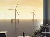 Artist Concept of Deep Water Floating Windmills Photographic Print by Carol & Mike Werner