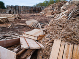 Pile of Trashed Pallets at Recycling Business, Michigan, USA Photographic Print by Jeffrey Wickett