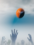Healthcare as a Balloon Rising Out of Reach Photographic Print by Carol &amp; Mike Werner