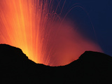 Nighttime Explosive Eruption of Stromboli Volcano, Eolian Islands, Italy, 2006 Photographic Print by Richard Roscoe