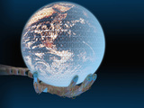 Illustration of a Robotic Hand Holding a Digital Earth, Earth Courtesy Nasa Photographic Print by Carol &amp; Mike Werner