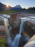 Dawn at Triple Falls, Glacier National Park, Wyoming, USA Photographic Print by Geoffrey Schmid