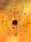 Test Tubes with a Model of a Copper Atom Photographic Print by Carol & Mike Werner