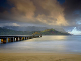The Hanalei Pier Points Towards the Mountains Often Called Bali Hai Photographic Print by Patrick Smith