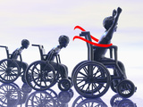 Illustration of a Boy Winning a Wheelchair Race Photographic Print by Carol & Mike Werner