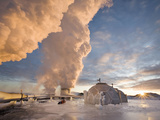 At Hellisheidi, Geothermal Power Plant in Iceland Steamblow and -11C Making Thick Ice Frostings Photographic Print by Skarphedinn Thrainsson