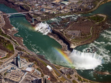 Rainbow over Niagara Falls, Aerial View, USA and Canada Photographic Print by Gustav Verderber