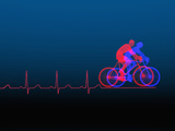 Biomedical Illustration of Exercise (Bicycling) and a Healthy Heart Ekg Photographic Print by Carol &amp; Mike Werner