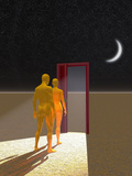 Illustration of a Man and Woman Facing a Doorway to the Unknown Photographic Print by Carol & Mike Werner