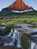Mount Reynolds in Early Morning Light and a Seasonal Waterfall, Glacier National Park, Montana, USA Photographic Print by Geoffrey Schmid