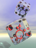 Male and Female Symbols Inside Rolling Dice Photographic Print by Carol &amp; Mike Werner