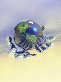 Earth Held in Digital Hands Photographic Print by Carol & Mike Werner