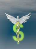 Caduceus Entwined with a Dollar Sign, Concept of the High Cost of Medical Care Photographic Print by Carol &amp; Mike Werner