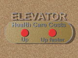 Illustration of the Healthcare Elevator, the Concept of Rising Healthcare Costs Photographic Print by Carol &amp; Mike Werner