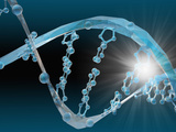 Biomedical Illustration of a Stylized DNA Molecule in Blue Photographic Print by Carol &amp; Mike Werner