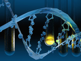 Biomedical Illustration of a Stylized DNA Molecule in Blue with Test Tubes Lámina fotográfica por Carol & Mike Werner