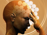 Concept of a Woman with a Headache and Aspirin Tablets Photographic Print by Carol & Mike Werner