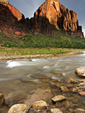 Red Arch Mountain and the Virgin River in Evening Light, Zion National Park, Utah, USA Photographic Print by Geoffrey Schmid