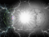 Artist&#39;s Interpretation of Matter - Antimatter Collision Photographic Print by Carol &amp; Mike Werner