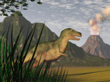 Illustration of a Tyrannosaurus Rex Dinosaur and the Cretaceous Period Stampa fotografica di Carol & Mike Werner