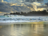 Large Waves Breaking over Haena Beach, Kauai, Hawaii, USA Photographic Print by Patrick Smith