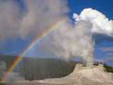 Castle Geyser with Rainbow, Yellowstone National Park, Wyoming Photographic Print by Gustav Verderber