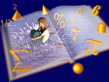 Illustration of a Boy Jumping into a Mathematics Textbook Lámina fotográfica por Carol & Mike Werner