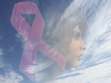 Biomedical Illustration of a Breast Cancer Awareness Symbol and a Woman's Face Photographic Print by Carol & Mike Werner