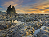 Low Tide and Exceptional Soft Evening Light on Rialto Beach, Olympic National Park, Washington, USA Photographic Print by Geoffrey Schmid