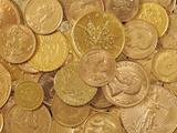 Gold Coins Fotografisk tryk af Dave Watts