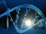 Biomedical Illustration of Stylized DNA in Blue with Test Tubes Photographic Print by Carol & Mike Werner