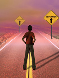 Teenage Boy Looking Down a Road Toward a Future Where Education Leads to Success Photographic Print by Carol & Mike Werner