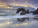 Waves Crashing over Grandmother Rock at Sunset on Trinidad Beach Near Eureka, Northern California Photographic Print by Patrick Smith