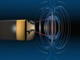 Three Dimensional Representation of the Magnetic Field of a Simple Electromagnet Photographic Print by Carol &amp; Mike Werner