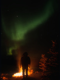 Camper Observing the Aurora Borealis, Alaska, USA Photographic Print by Tom Walker