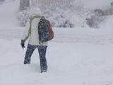 A Pedestrian Walks Through Deep Snow Wearing Cold Weather Clothing During a Winter Storm Fotodruck von Jon Van de Grift