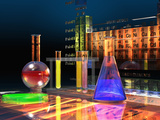 Illustration of the Periodic Table of the Elements Made from Glass Blocks with Laboratory Glassware Fotografisk tryk af Carol & Mike Werner