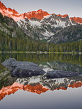 Crimson Red Sunrise Alpenglow Falls on Jack Ridge on the Shoulder of Mount Stuart Photographic Print by Geoffrey Schmid