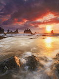 Clearing Storm and a Winter Sunset at Point of the Arches, Olympic National Park, Washington, USA Photographic Print by Geoffrey Schmid