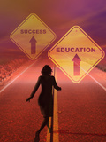 Businesswoman Running Down a Road Toward a Future Where Education Leads to Success Photographic Print by Carol & Mike Werner