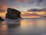 Sea Stack at Sunset at Natural Bridges State Park, Santa Cruz, California, USA Photographic Print by Patrick Smith