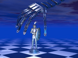 Illustration of a Robotic Hand Preparing to Move a Chess Piece Photographic Print by Carol & Mike Werner
