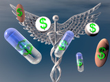 Caduceus with Capsules and Pills with Dollar Signs Photographic Print by Carol &amp; Mike Werner