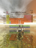 Periodic Table of the Elements with Chemistry Glassware Photographic Print by Carol & Mike Werner